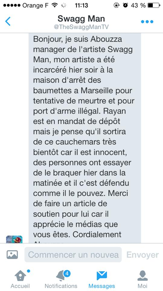 Message Twitter du manager de Swagg Man