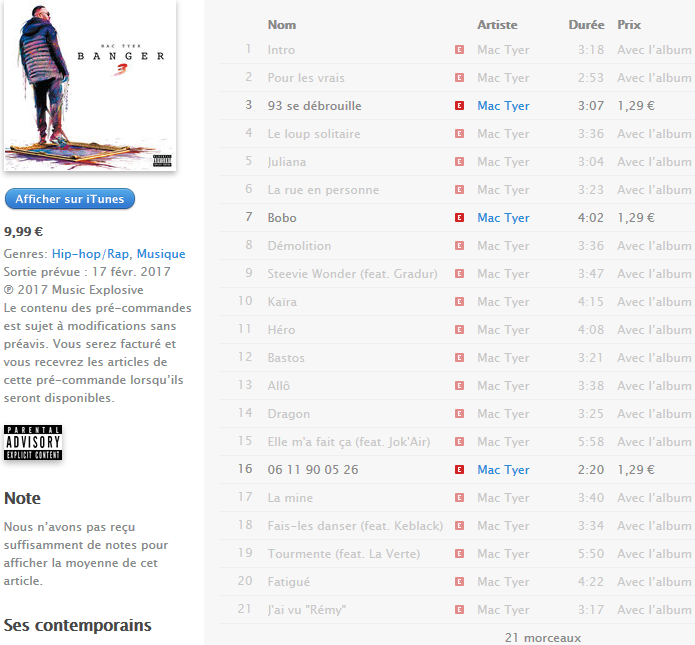 Le tracklisting de BANGER 3 by Mac Tyer