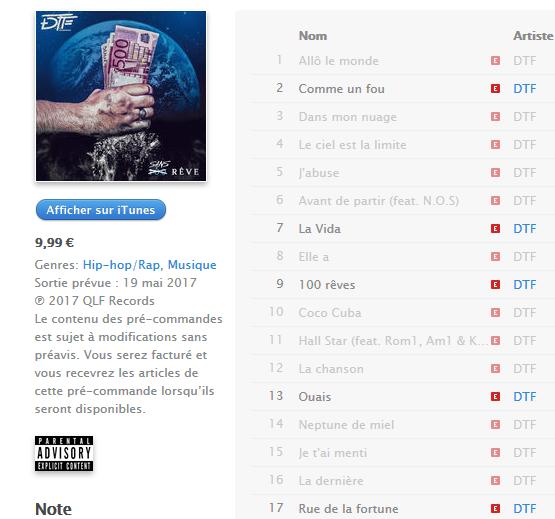 TRACKLIST DU NOUVEL ALBUM DE DTF