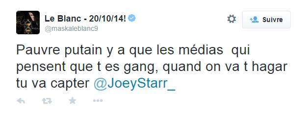 Tweet Maska Clash Joey Starr
