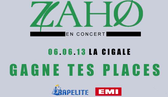 Jeux concours Zaho La Cigale : les gagnants