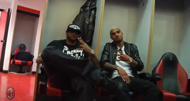 Booba rencontre les joueurs du Milan AC