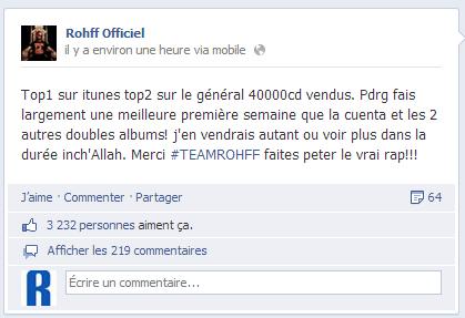 Rohff sur Facebook
