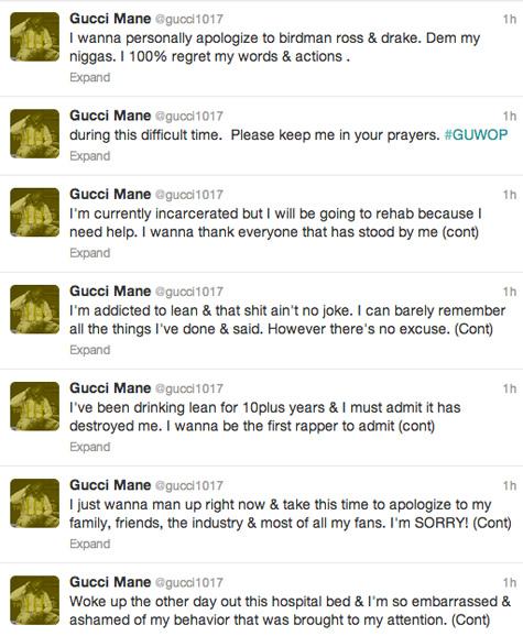 Gucci Mane s'excuce pour ses tweets et avoue son addiction à la Codéine