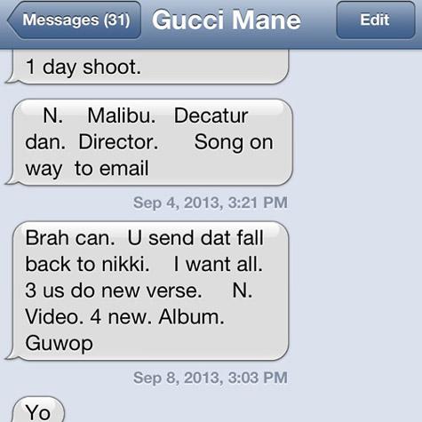 Conversation Gucci Mane - Tyga