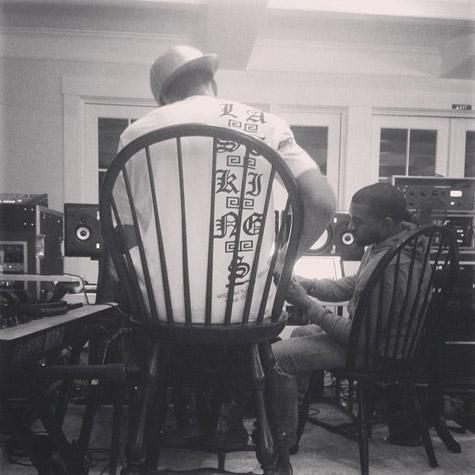 Tyga Kanye West en studio