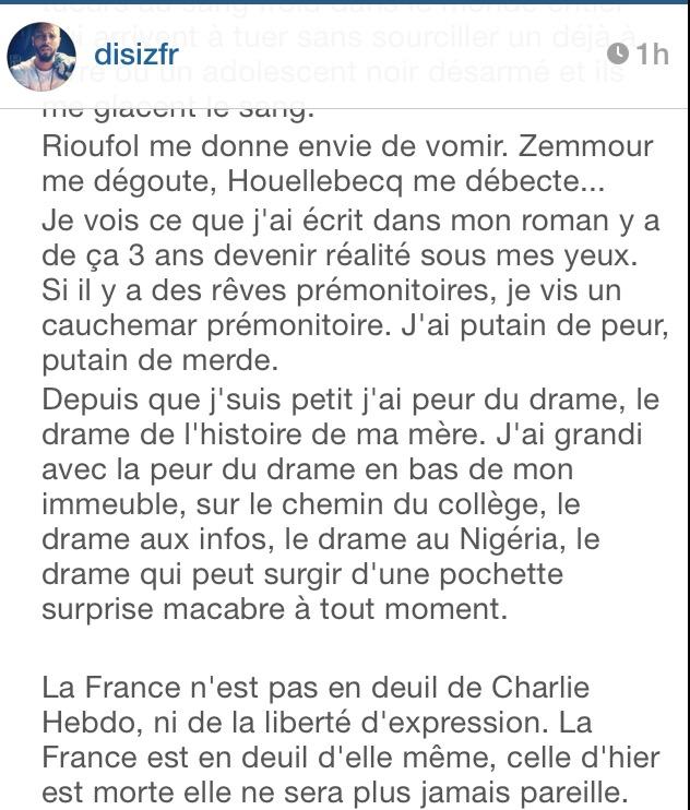 Disiz attentat Charlie Hebdo