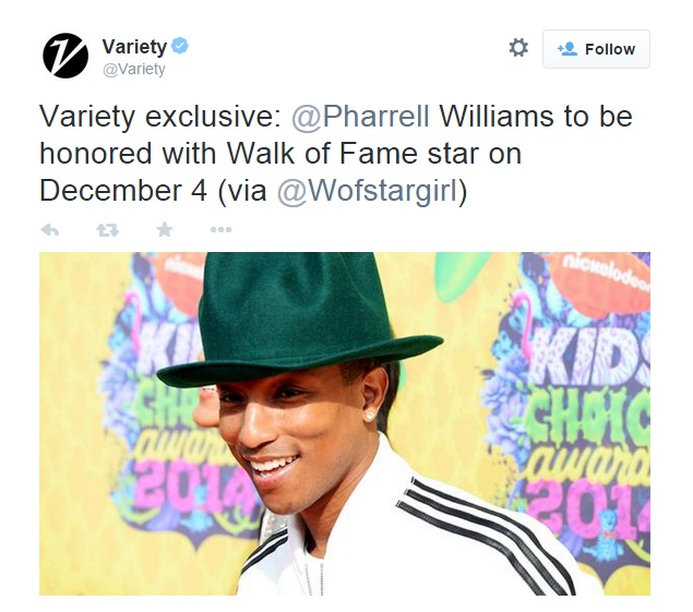 Pharrell tweet walk