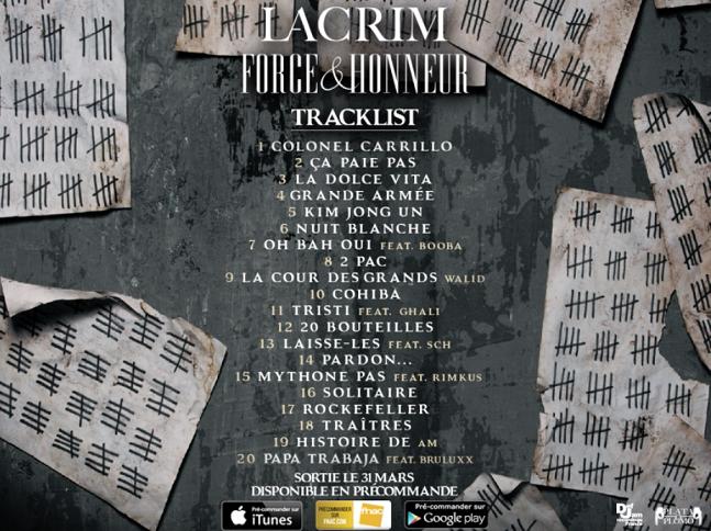 Tracklist du nouvel album de Lacrim
