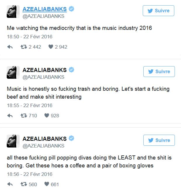 Tweets d'Azealia Banks