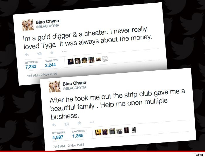 Tweets provenant du compte hacké de Blac Chyna