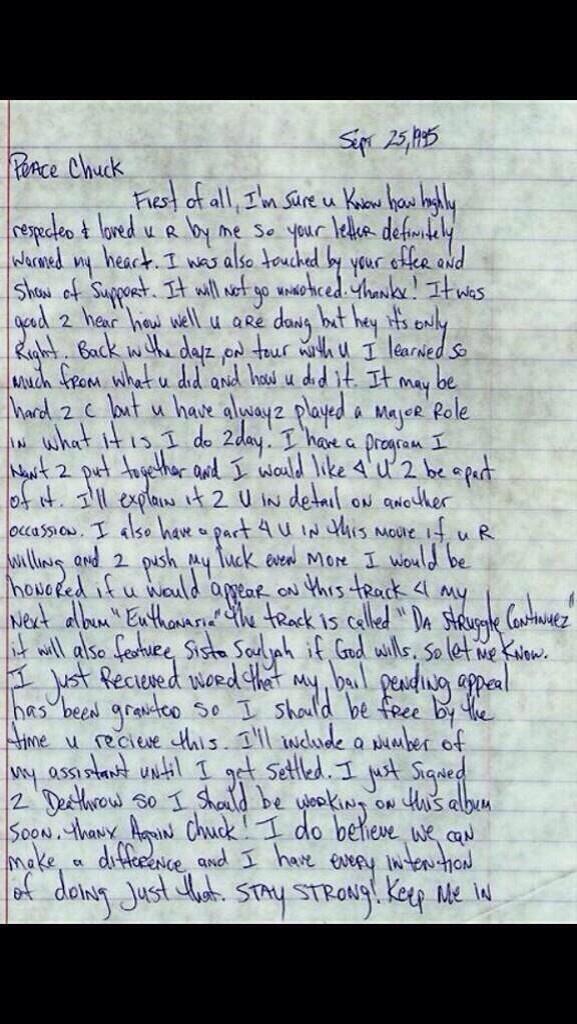 tupac lettre